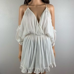 Lovers + Friends white ruffle mini dress size S.
